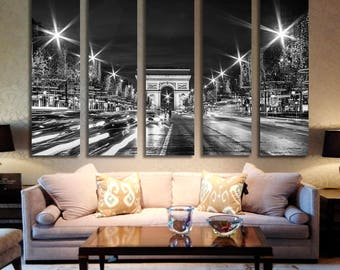 Paris Black and White Photo Canvas, Paris Above the Clouds, Eiffel Tower Gallery Wrapped Canvas, Large Wall Art, French Decor