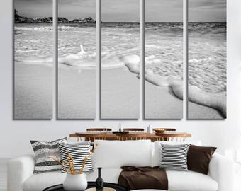 Extra large Black and White Canvas Print ocean sunrise sunset photograph beach nature home decor over the bed couch panoramic