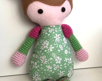 Isabella – Crochet and Fabric Plushie Soft Doll Toy – BABY SAFE and UNIQUE