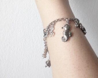 Marine Sea themed Charm Bracelet 925 Silver  14 Nautical Seahorse Octopus Dolphins Charms
