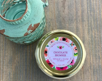 Chocolate Brownie Scented Soy Candle, 3 oz, 6 oz, 11 oz Glass Tureen Jar with Gold Lid, 100% Soy Wax, Gifts For Her