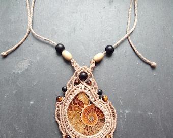 Macrame necklace with Madagascar Amonite and tiger eye beads