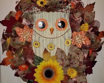 Owl wreath, Fall wreath, Autumn wreath, Deco mesh wreath, Flower wreath, Sunflower wreath, Thanksgiving wreath, Door wreath