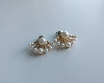 Trendy jewelry earrings double pearl beads