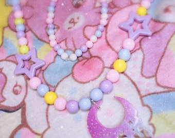 Fairy Kei melty moon necklace beads kawaii resin
