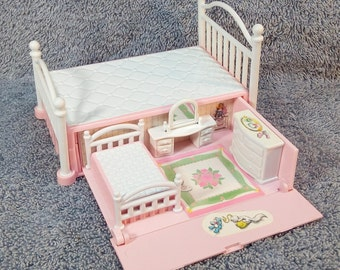 Vintage 1990 Galoob Secret Places Bed with pull out mini bedroom with bed, vanity, & dresser - LGTI Dollhouse / Doll Furniture
