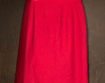 Vintage Wool Fire Engine Red Pencil Skirt