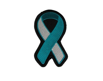 Teal and White Awareness Ribbon Patch for Cervical Cancer