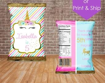 Unicorn Chip Bag Treat Bag Party Favor