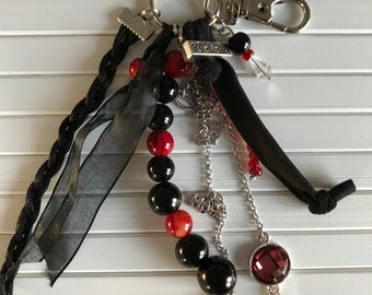 Red Black keychain/bags pendant with beads, fabric and charms
