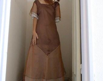 Brown satin robe