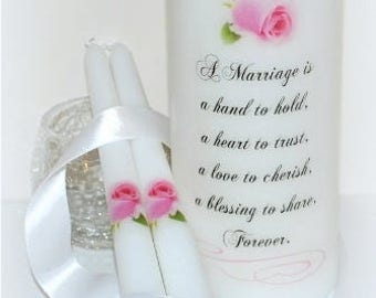 A marriage is a hand to hold, unique handmade wedding unity pillar, personalized wedding unity candle design under the wax, candle keepsakes