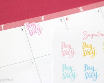 Hand Lettered Payday Planner Stickers, 20 Payday Stickers, Paycheck, Payday Reminder, Money Stickers, Income, Budget Planner, PAY6
