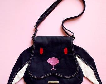 BLACK Bunny, Black Rabbit, Bunny Sling, Bunny Purse, Bunny Bag, Rabbit Bag, Rabbit Purse, Chubby Bunny, Harajuku Fashion, Small Sling Bag