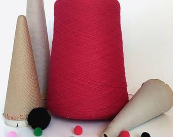 2/24 Acrylic Yarn on Cone - Red - 1  lb 6 oz - Machine Knitting - Weaving - Crochet - Loom