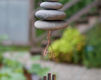 Wind Chime Beach Stone Natural Garden Decor Windchime Art