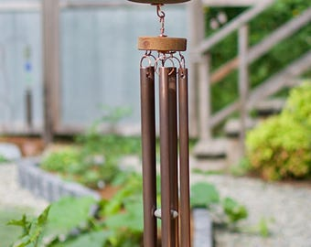Wind Chime Large Beach Stones Copper Chimes Outdoor Windchimes
