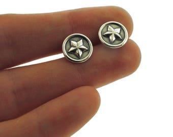 Silver Earrings, sterling silver star post earrings by Kathryn Riechert
