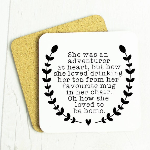 Adventurer who loves home gift coaster, home sweet home or wanderlust, lovely bon voyage gift or home person