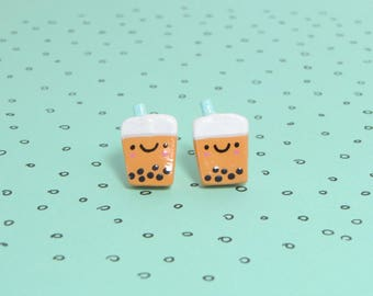 Kawaii Bubble Tea Clay Sterling Silver Post Earrings
