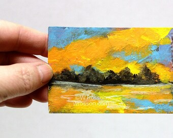 Orange Sky, Sun Set, Lake Painting, Trees, Landscape Painting, ACEO, Small Painting, Winjimir, Art Collecting, Original Painting, ATC