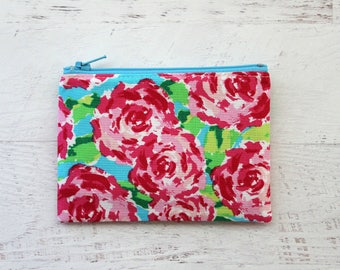 Floral change purse - small zipper pouch - under 10 gift - floral wallet - pink zip pouch - flower pouch - floral bag - gift for her