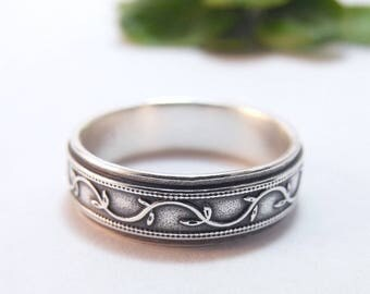Mens Wedding Band For Him Womens Wedding Band, Silver Wedding Band, Petunia Ivy Vine Ring, Mens Wedding Ring, Womens Wedding Ring, Wide Band