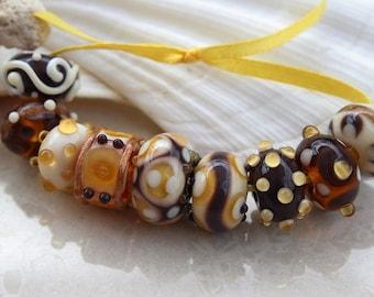 Elizabeth Creations MAPLE SYRUP artisan lampwork handmade glass beads Sra