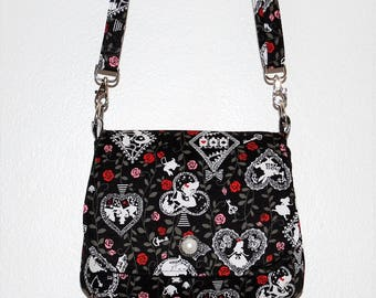 Alice in Wonderland Mini Messenger Bag - Playing Cards, Rose Purse, Lolita Style, Floral Print, Silhouettes, Shoulder Purse, Fabric Purse