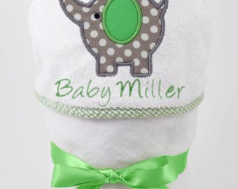 Gender Neutral Baby Gift, Unisex Baby Gift, Baby Shower Gift, Personalized Towel, Elephant Baby, Hooded Bath Towel, Baby Bath Towel