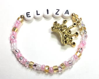 NEW! Personalized Pink Princess Party Favors for kids in Pink & GOLD! Personalized Name bracelet Party Favor Princess Birthday Party