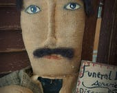 MUSTARD SEED ORIGINALS, Undertaker, Grave Digger, Funeral Director, Halloween, Doll  by Folk Artist Sharon Stevens