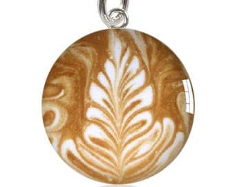 Coffee Art Sterling Silver Meniscus Charm Pendant