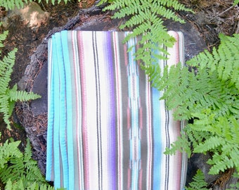 Wool Blanket Sandy Pastels Native American Inspired Design Southwestern Serape Stripes Style Couch Throw
