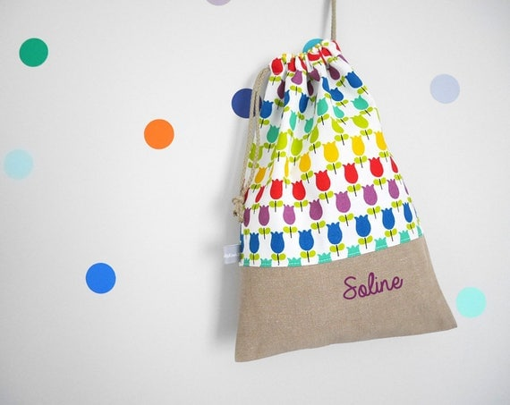 Customizable drawstring pouch - cuddly toy bag - name - kindergarden - rainbow - tulips - flowers - colors - slippers or toys bag