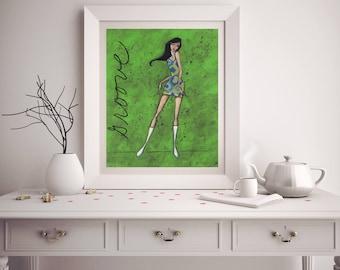 Woman Dancing Art Print, Dance Teacher Gift Idea for Her, Colorful Wall Hanging Home Decor, Hippie Boho Bohemian, Dancer Illustration, Shano