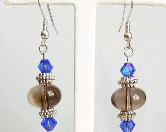 Brown, Blue and Silver Hanging Earrings
