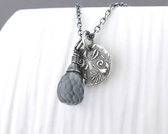 Dainty Gray Necklace Tiny Gemstone Necklace Gray Quartz Necklace Silver Pendant Necklace Boho Necklace Unique Jewelry Gift for Her - Solo