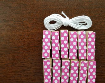 Pink With White Polka Dots Chunky Little Clothespin Clips w Twine for Display -  Set of 12 - Girl Baby Birthday