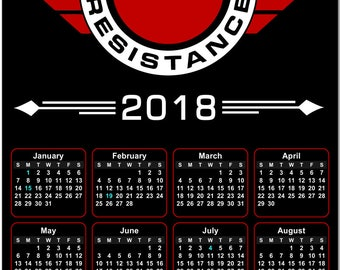Join The Resistance 2018 Full Year View Calendar - Magnet, Print, Poster