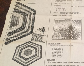 Vintage Hexagon Crochet Rug Pattern 5670