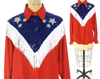 80s Rhinestone Cowgirl Pearl Snap Shirt / Vintage 1980s Red White & Blue Fringed Western Blouse / Rockabilly Honky Tonk Las Vegas Rodeo Top