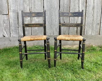 Pair Antique Rush Seat Chairs with Autumn Leaf Stencil, Colonial Home Decor, Rustic Farmhouse Dining Room Seating
