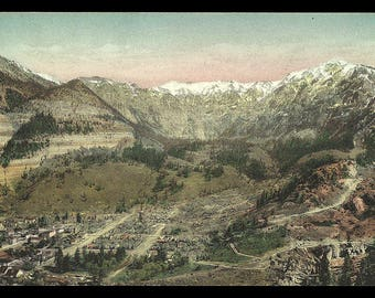 Ouray Colorado Postcard Looking East Albertype CO PC for Wardell Store