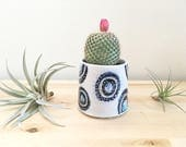 Small Cactus Planter Succulent Planter With Black and Turquoise Circles