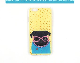 Dog iPhone Case, Pug iPhone, Cute iPhone Case, Unique iPhone Case, Pug Phone, Pug Gifts For Her, Pug Dog Lover Gift, College Student Gift