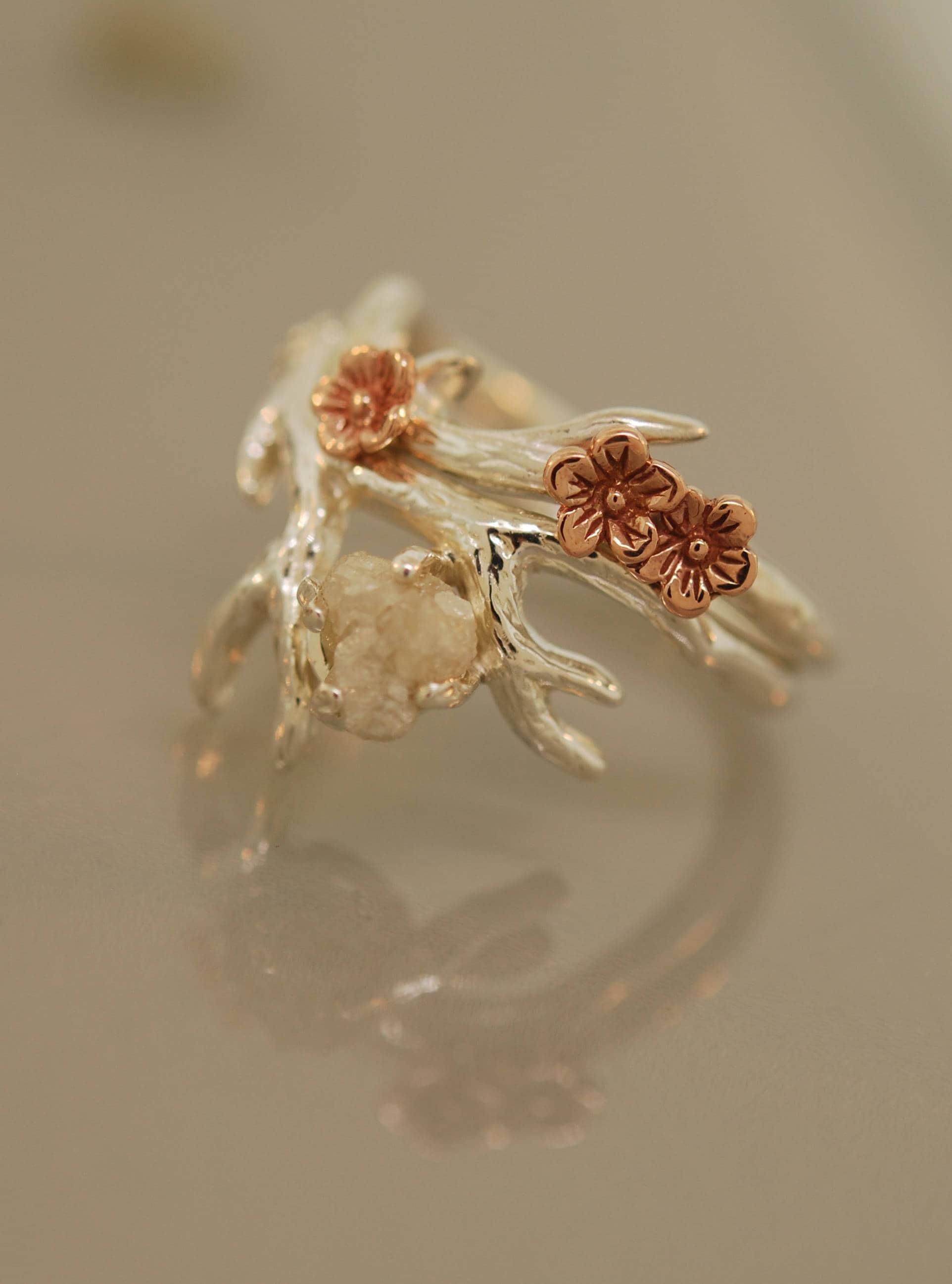 Antler Ring 2 alternative engagement ring twig ring gold