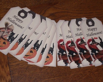 Choose Jack O Lantern or Witch Happy Halloween Hang Tags - Scrapbooking - Trick or Treat  Goodie Bags - 10 Tags in 2 Different Variations