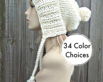 Cream Slouchy Pom Pom Hat - Cream Hat Cream Beanie Slouchy Hat Slouchy Beanie Winter Hat Womens Hat Charlotte - 34 Color Choices