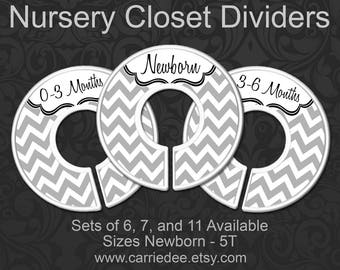 Nursery Closet Dividers, Baby Clothes Organizers, Gender Neutral Baby Gift, Grey Chevron Nursery Decor - & Ready to Hang